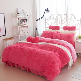Wannaus Solid Red and Pink Color Blocking Fluffy 4-Piece Bedding Sets/Duvet Cover