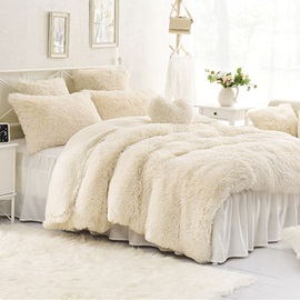 Wannaus Solid Creamy White Super Fluffy and Soft 4-Piece Bedding Sets/Duvet Cover