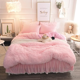 Wannaus Princess Style Solid Pink with Quilting Bed Skirts Thick Fluffy 4-Piece Bedding Sets