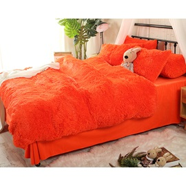 Wannaus Solid Bright Orange Super Soft Fluffy Plush 4-Piece Bedding Sets/Duvet Cover
