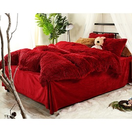 Wannaus Full Size Hot Red Super Soft Fluffy Plush 4-Piece Bedding Sets/Duvet Cover