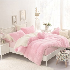 Wannaus Solid Pink and Creamy White Color Block Fluffy 4-Piece Bedding Sets/Duvet Cover