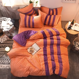Wannaus Orange and Purple Stripes Color Blocking Sporty Super Soft 4-Piece Bedding Sets/Duvet Cover
