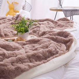 Wannaus Solid Khaki with Decorative Fuzzy Ball Faux Rabbit Fur 4-Piece Fluffy Bedding Sets