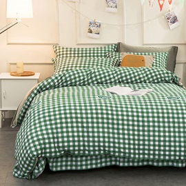 Wannaus Little Green Plaid Pattern Modern Style Soft 4-Piece Bedding Sets/Duvet Cover