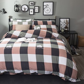 Wannaus Green and Pink Plaid Pattern Modern Style 4-Piece Bedding Sets/Duvet Cover