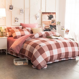 Wannaus Peachy Pink Plaid Pattern Modern Style Soft 4-Piece Bedding Sets/Duvet Cover