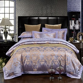 Wannaus Noble Purple Damask Jacquard Pattern 4-Piece Silky Duvet Cover Sets