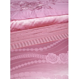 Wannaus Pink Rose Jacquard Pattern 4-Piece Silky Duvet Cover Sets