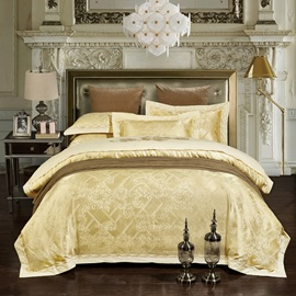 Wannaus Light Yellow Jacquard Print 4-Piece Silky Duvet Cover Sets