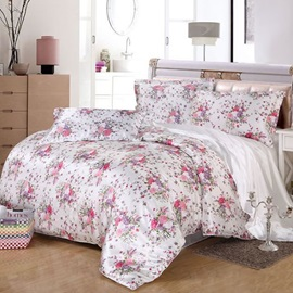 Wannaus Pink Floral Print Silky 4-Piece Full Size Duvet Cover Sets