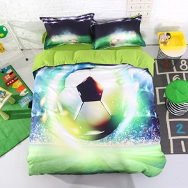 3D Soccer Ball with Stadium Printed Cotton 4-Piece Bedding Sets/Duvet Covers