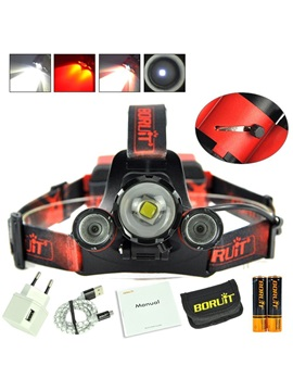 B22 White and Red Double Light Source Lamp USB Charging Camping HeadLamp