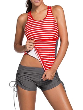 Stripe Hollow Pleated Lace-Up Tankini Set Swimwear