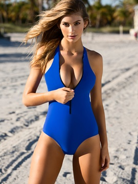 Plain Zipper Backless Monokini