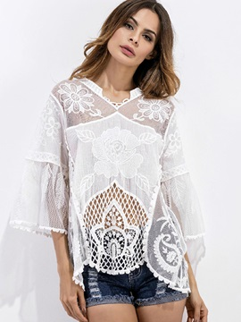 Hollow Mesh Patchwork Lace Three-Quarter Sleeve Plain Cover-Ups