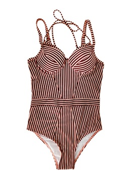 Stripe Halter One Piece Swimwear Monokini