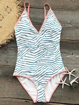 Stripe Print One Piece Swimsuits