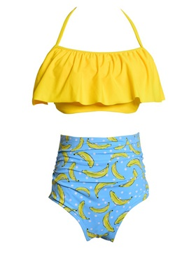 Halter Banana Print Falbala Cute Tankini Bathing Suit