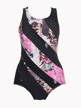 Color Block Floral Back Hollow Sexy One Piece Bathing Suit