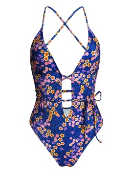 Floral Print Hollow Lace-Up Sexy One Piece Bathing Suit
