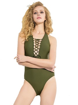 Plain Sexy Lace-Up One Piece Bathing Suit