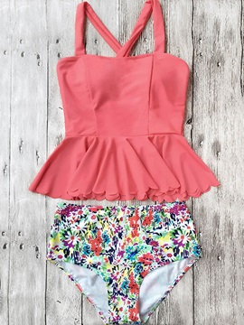 Plain Floral Cross Strap Tankini Set
