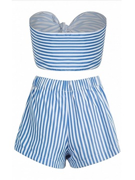 Off the Shoulder Bowkont Front Stripe Sexy Tankini Set