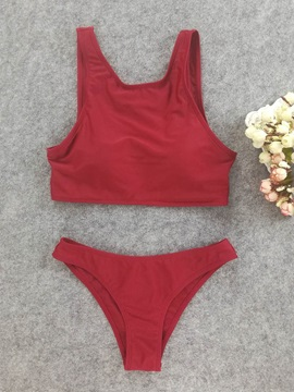 Plain Red Sexy Tankini Set
