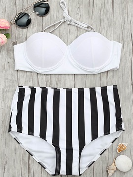 Halter Stripe Highwaist 2-Pcs Bikini Set