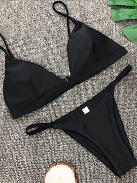 Solid Color Simple Style Sexy Bikini Bathing Suit