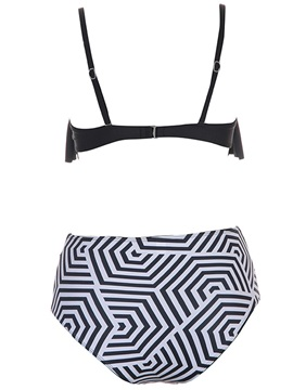 Black and White Stripe Falbala Sexy Bikini Set