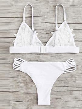 Appliques High Leg Sexy White Bikini Bathing Suit