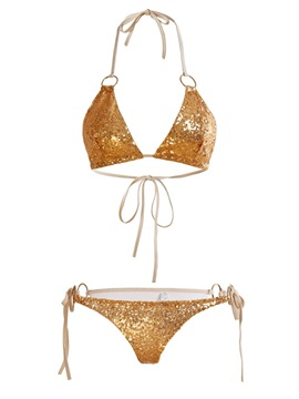 Golden Sequins Lace-Up Sexy Bikini Set
