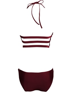 Plain Hollow Lace-Up Bikini Bathing Suit