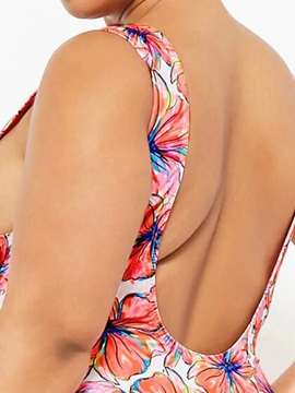Plus Size Floral Sexy Print One Piece Swimsuit