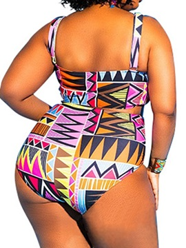 Plus Size Geometric Print One Piece Swimwear