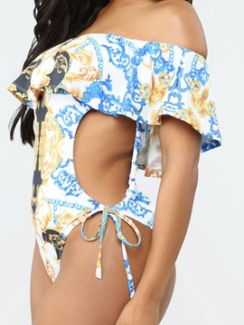 Summer Floral Print Hollow Sexy One Piece Swimwear