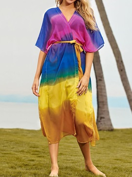 Lace-Up Fashion See-Through Women's Beach Tops