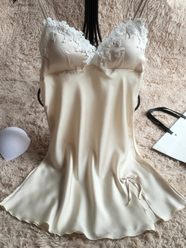 Bowknot Lace Above Knee Sleeveless Nightgown