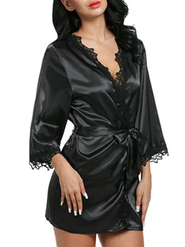 Lace Single Plain Loose Women's Night Robe