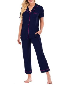 Polyester Simple Button Short Sleeve Single-Breasted Women's Pajama Suit