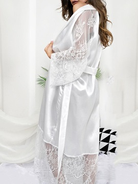 Lace-Up Lace Plain Polyester Long Sleeve Women's Night-Robes