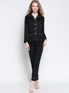 Sleepwear Lapel Single-Breasted Long Sleeve Pajama Set