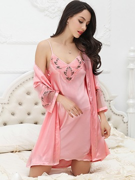 Print Sexy Short Nightgown and Long Sleeve Robe