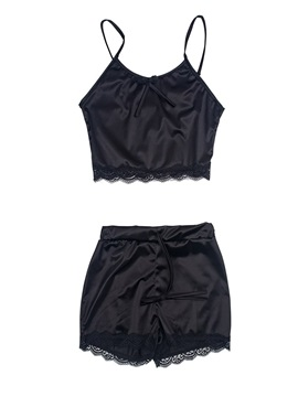 Plain Sexy Shorts Women's Pajama Set