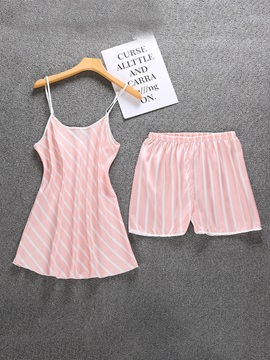 Print Stripe Vintage Women's Pajama Suit Two Pieces