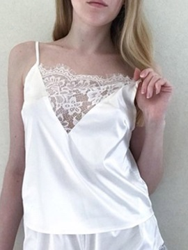 Lace Simple Patchwork Sleeveless Women's Sleepwear