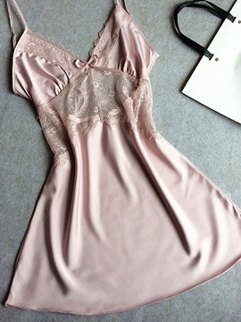 V-Neck Mid-Waist Above Knee Nightgown