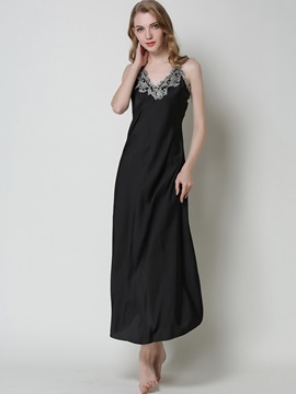 Nightgown V-Neck Sleeveless Ankle-Length Night Dress